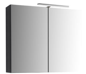 Mirror Cabinet with Light, 800mm - Black