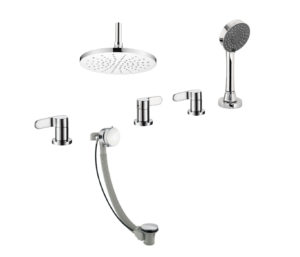 Vue 4 Hole Bath Shower Mixer with Bath Filler