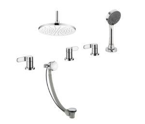 Vue 4 Hole Bath Shower Mixer with Bath Filler
