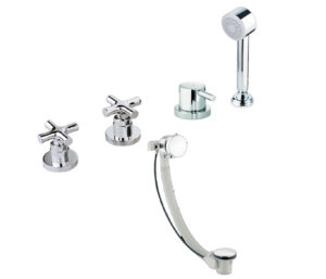 Solo 4 Hole Bath Shower Mixer with Bath Filler