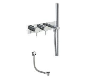 Round Thermostat with Attached Handshower and Bath Filler