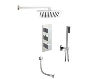 Square Thermostat with Overhead Shower, Fixed Shower Handle and