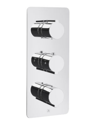 Curve Thermostatic Concealed 2 Outlet Shower Valve, Vertical