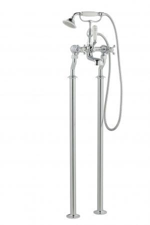 Grosvenor Cross Floor Standing Bath Shower Mixer With Kit