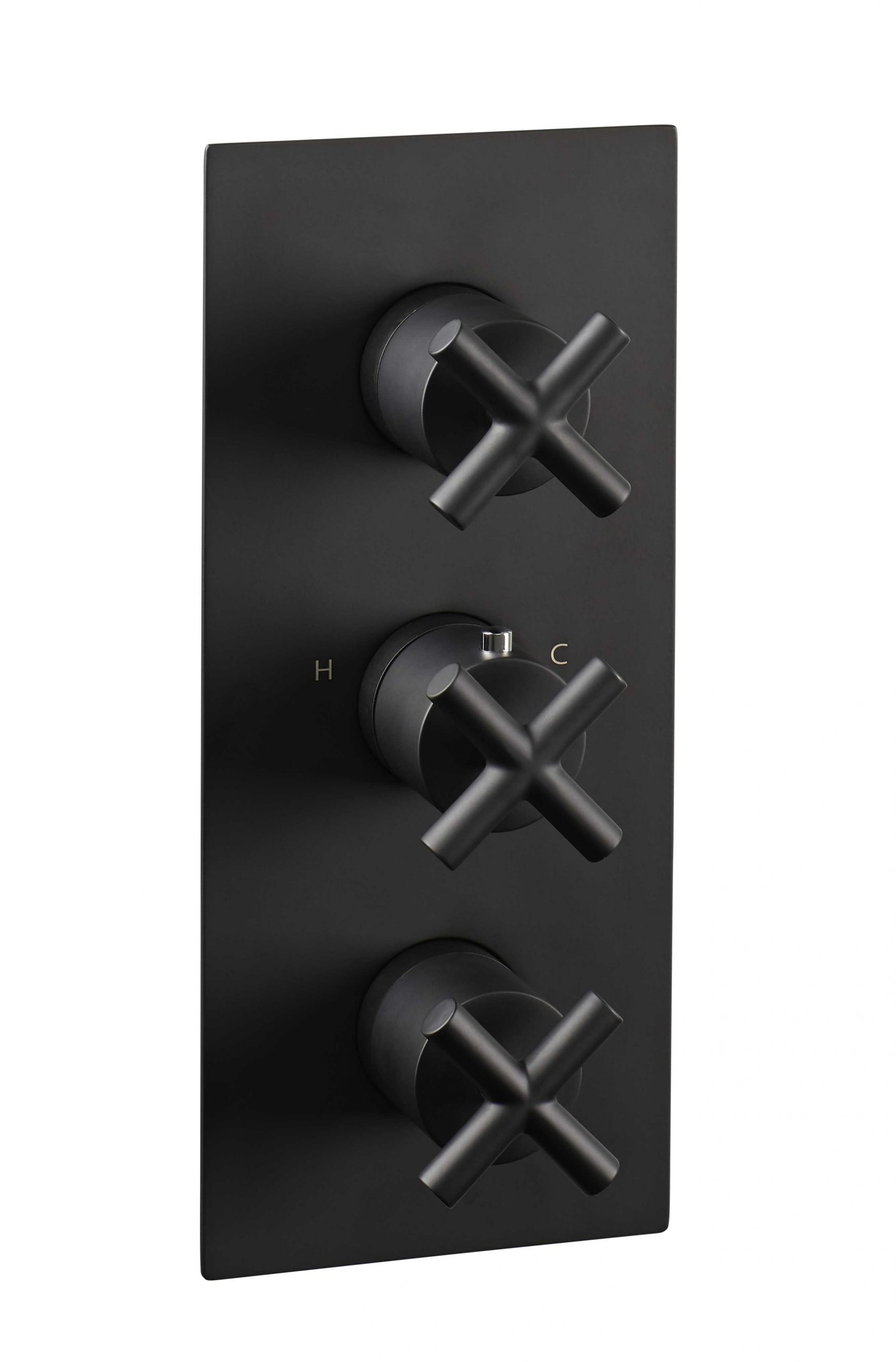 Solex thermostatic concealed 2 outlet shower valve, vertical