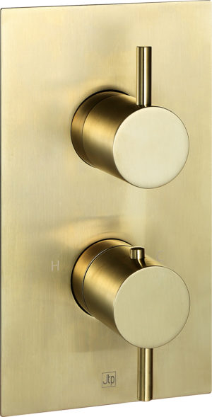 VOS brushed brass, thermostatic concealed 2 outlet shower valve