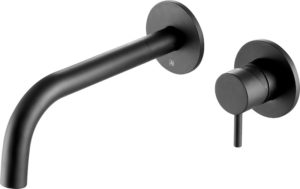 VOS matt black single lever wall mounted basin mixer with spout
