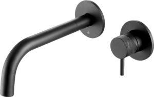 VOS matt black single lever wall mounted , designer handle.