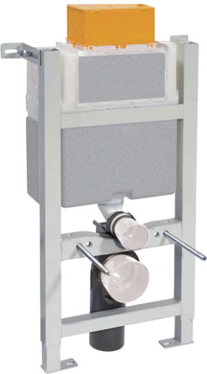 Vos Toilet Frame with Button Brushed Black